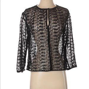 Karl Lagerfeld black lace  xs long sleeve blouse